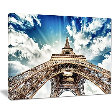 East Urban Home Eiffel Tower w/ Fast Moving Clouds Graphic Art Print on Canvas; 40 '' W x 30 '' H