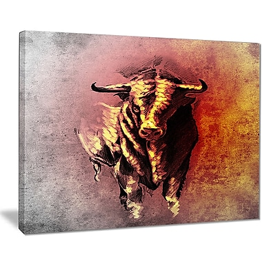 East Urban Home Spanish Bull Tattoo Sketch Graphic Art Print on Canvas; 40 '' W x 30 '' H