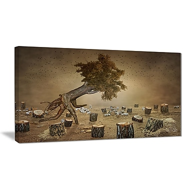 East Urban Home Escape the Last Wood Oil Painting Print on Canvas; 40 '' W x 20 '' H