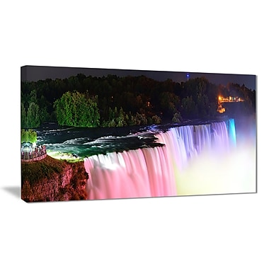East Urban Home Colorful Niagara Falls Panorama Oil Painting Print on Canvas; 32 '' W x 16 '' H