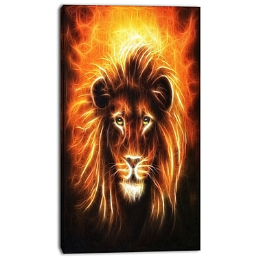 East Urban Home Lion w/ Flame Mine Graphic Art Print on Canvas; 20 '' W x 40 '' H