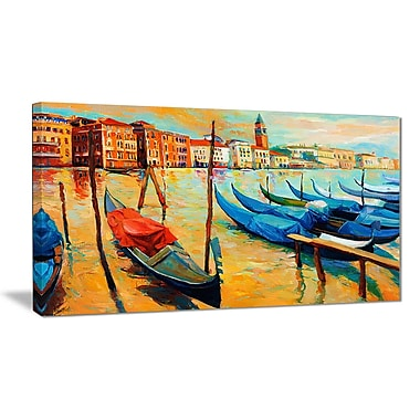 East Urban Home Colorful Venice Oil Painting Print on Canvas; 40 '' W x 20 '' H