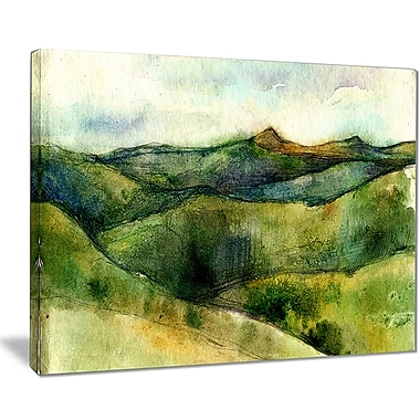 East Urban Home Green Mountains Watercolor Oil Painting Print on Canvas; 40 '' W x 30 '' H