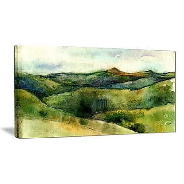 East Urban Home Green Mountains Watercolor Oil Painting Print on Canvas; 32 '' W x 16 '' H