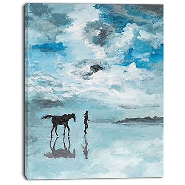 East Urban Home Man and Horse Running on Water Oil Painting Print on Canvas; 12 '' W x 20 '' H