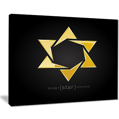East Urban Home Luxury Golden Star Graphic Art Print on Canvas; 20 '' W x 12 '' H