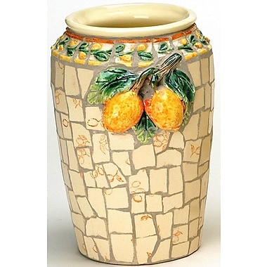 Fleur De Lis Living Mosaic Round Ceramic Table Vase