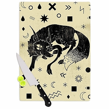 East Urban Home Anya Volk Glass 'Wolf Illustration' Cutting Board; 0.25'' H x 15.75'' W x 11.5'' D