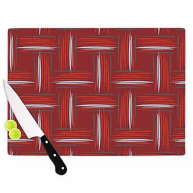 East Urban Home Empire Ruhl Glass 'And Rust Crosshatch Digital' Cutting Board