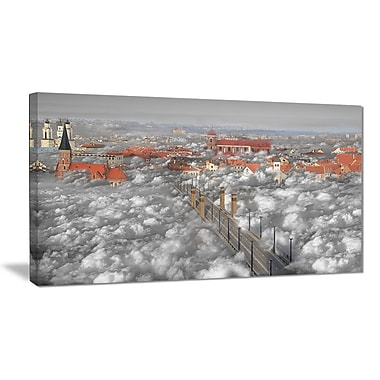 East Urban Home When the Cloud Descends Oil Painting Print on Canvas; 40 '' W x 20 '' H