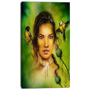East Urban Home Indian Woman w/ Birds Photographic Print on Canvas; 20 '' W x 40 '' H
