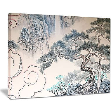 East Urban Home Chinese Blue Tree Art Oil Painting Print on Canvas; 40 '' W x 30 '' H