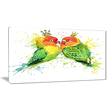 East Urban Home Family Parrots Oil Painting Print on Canvas; 40 '' W x 20 '' H