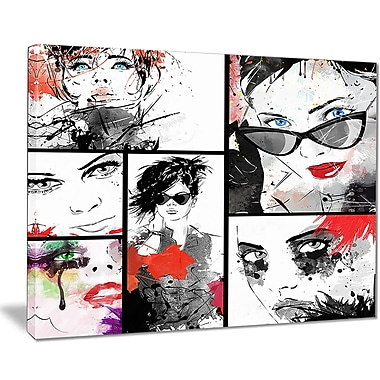 East Urban Home Beautiful Faces Collage Graphic Art Print on Canvas; 40 '' W x 30 '' H