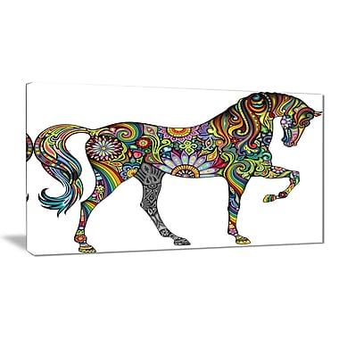 East Urban Home Cheerful Horse Graphic Art Print on Canvas; 40 '' W x 20 '' H