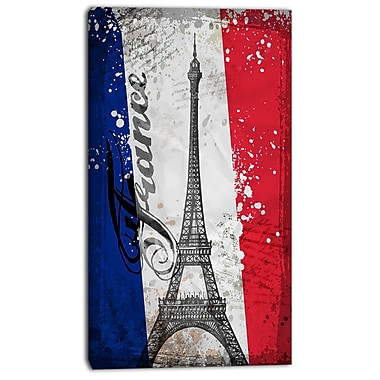 East Urban Home Eiffel Tower on French Flag Graphic Art Print on Canvas; 16 '' W x 32 '' H