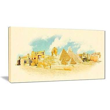 East Urban Home Cairo Panoramic View Oil Painting Print on Canvas; 32 '' W x 16 '' H