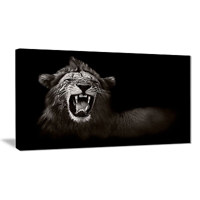 East Urban Home Lion Displaying Fiery Face Graphic Art Print on Canvas; 32 '' W x 16 '' H