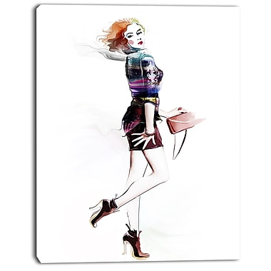 East Urban Home Fashionable Young Girl Graphic Art Print on Canvas; 12 '' W x 20 '' H