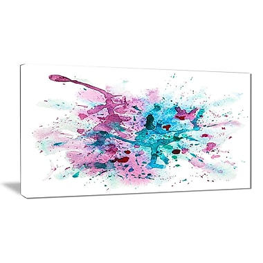 East Urban Home Blue and Purple Paint Stain Oil Painting Print on Canvas; 32 '' W x 16 '' H