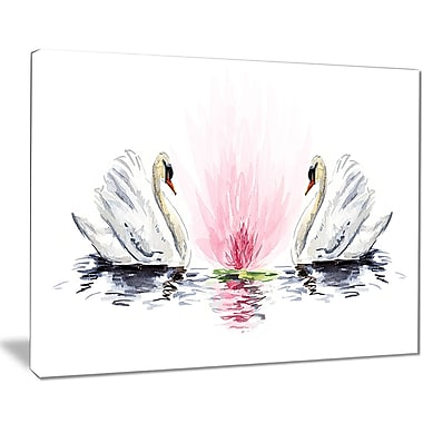 East Urban Home Floating Swans on White Background Oil Painting Print on Canvas; 20 '' W x 12 '' H