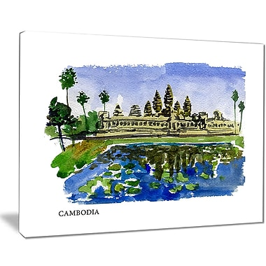 East Urban Home Cambodia Vector Illustration Oil Painting Print on Canvas; 40 '' W x 30 '' H