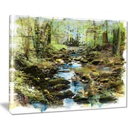 East Urban Home Stream in the Forest Oil Painting Print on Canvas; 40 '' W x 30 '' H