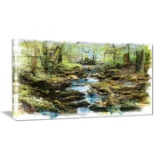 East Urban Home Stream in the Forest Oil Painting Print on Canvas; 40 '' W x 20 '' H