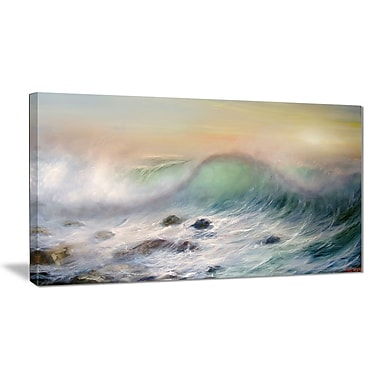 East Urban Home Mountains of Waves Oil Painting Print on Canvas; 32 '' W x 16 '' H