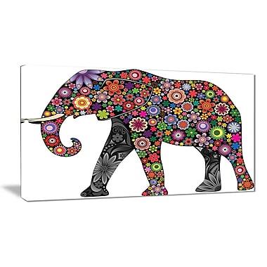 East Urban Home Cheerful Elephant Graphic Art Print on Canvas; 40 '' W x 20 '' H