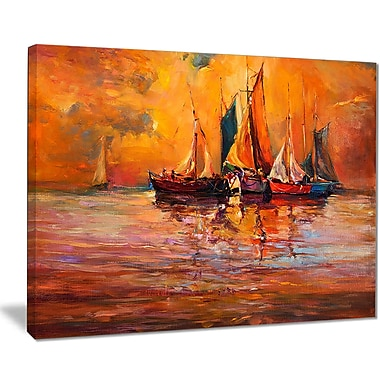 East Urban Home Boats and Ocean in Red Oil Painting Print on Canvas; 20 '' W x 12 '' H