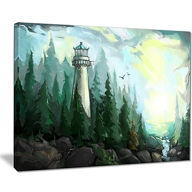 East Urban Home Landscape w/ River and Trees Oil Painting Print on Canvas; 40 '' W x 30 '' H