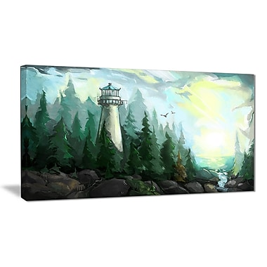 East Urban Home Landscape w/ River and Trees Oil Painting Print on Canvas; 32 '' W x 16 '' H
