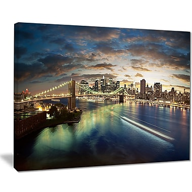 East Urban Home New York Under Cloudy Skies Photographic Print on Canvas; 20 '' W x 12 '' H