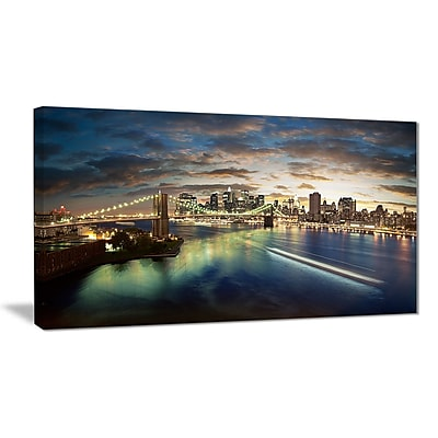 East Urban Home New York Under Cloudy Skies Photographic Print on Canvas; 32 '' W x 16 '' H