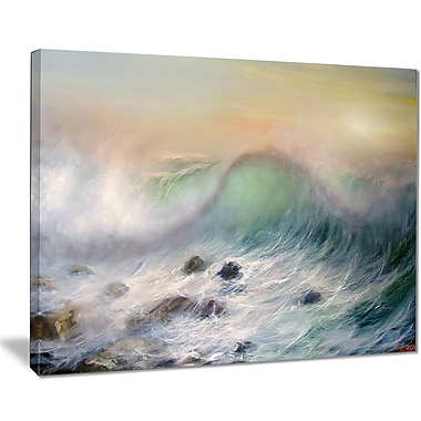 East Urban Home Mountains of Waves Oil Painting Print on Canvas; 20 '' W x 12 '' H