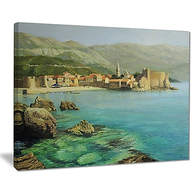 East Urban Home Bay Near Old Budva Oil Painting Print on Canvas; 40 '' W x 30 '' H
