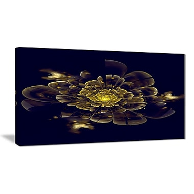 East Urban Home Golden Metallic Fractal Flower Photographic Print on Canvas; 32 '' W x 16 '' H