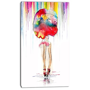 East Urban Home Girl w/ Red Umbrella Oil Painting Print on Canvas; 16 '' W x 32 '' H