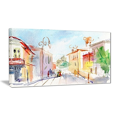 East Urban Home Illustrated Parisian Street Graphic Art Print on Canvas; 32 '' W x 16 '' H