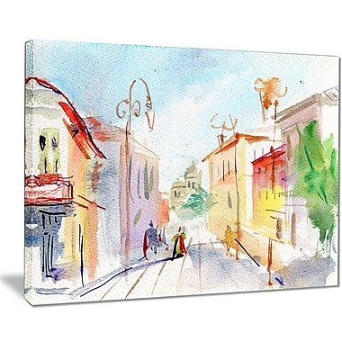 East Urban Home Illustrated Parisian Street Graphic Art Print on Canvas; 20 '' W x 12 '' H