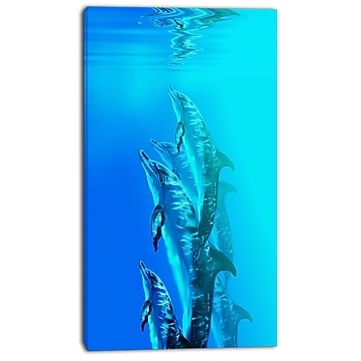 East Urban Home Dolphin in Blue Sea Oil Painting Print on Canvas; 16 '' W x 32 '' H