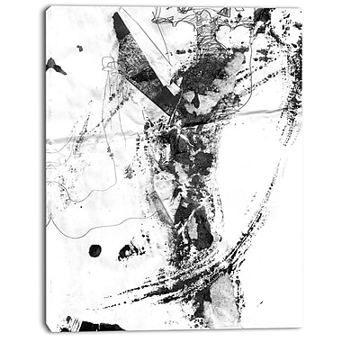East Urban Home Abstract Black Stain Oil Painting Print on Canvas; 12 '' W x 20 '' H