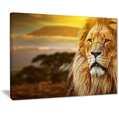 East Urban Home Lion and Mount Kilimanjaro Oil Painting Print on Canvas; 20 '' W x 12 '' H