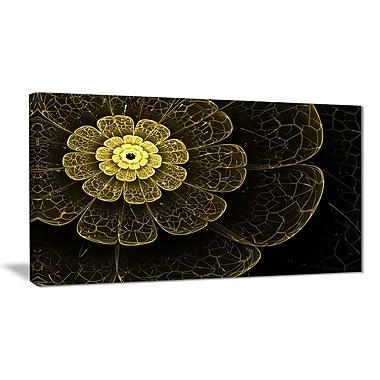 East Urban Home Light Yellow Metallic Fabric Flower Graphic Art Print on Canvas; 40 '' W x 20 '' H