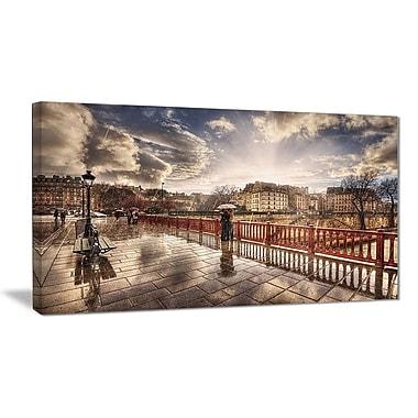 East Urban Home Bridge in Rain Graphic Art Print on Canvas; 40 '' W x 20 '' H