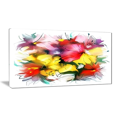 East Urban Home Textured Flowers in Multiple Hues Graphic Art Print on Canvas; 40 '' W x 20 '' H