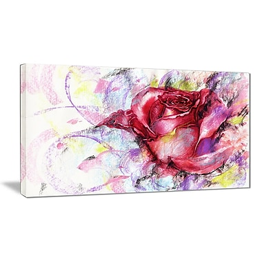 East Urban Home Red Rose Illustration Graphic Art Print on Canvas; 32 '' W x 16 '' H