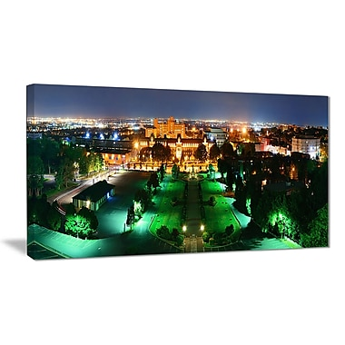 East Urban Home Lighted Montreal City at Night Oil Painting Print on Canvas; 32 '' W x 16 '' H
