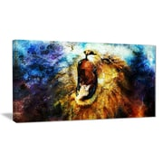 East Urban Home Mighty Lion Emerging Photographic Print on Canvas; 32 '' W x 16 '' H